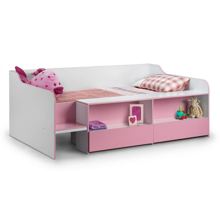 Salou Low Sleeper Kids Storage Bed Pink