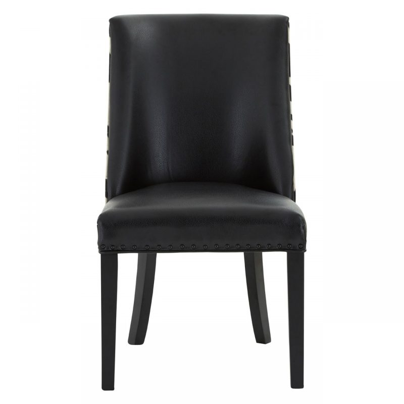 Rodeo Dining Chair Black Faux Leather Black Cowhide 2