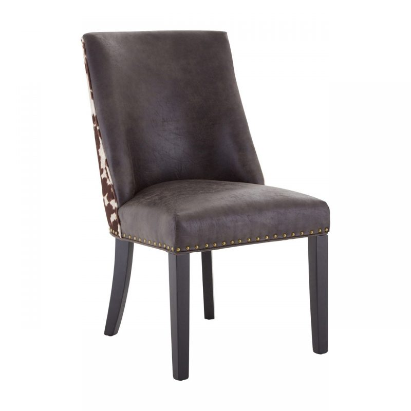 Rodeo Dining Chair Brown Faux Leather Brown Cowhide 3