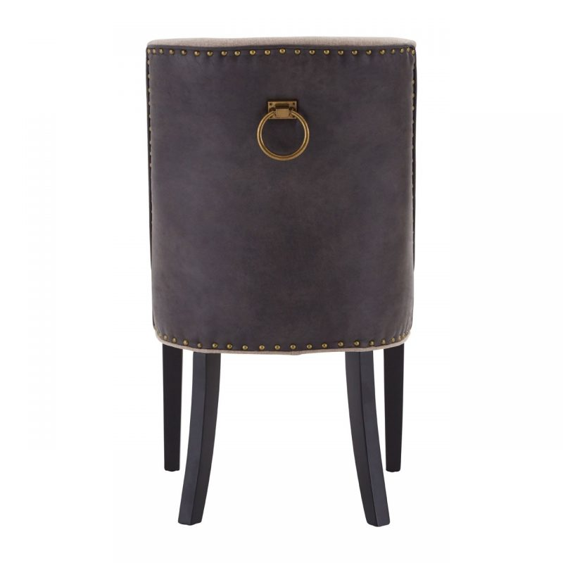 Rodeo Dining Chair Beige Fabric Brown Faux Leather 3