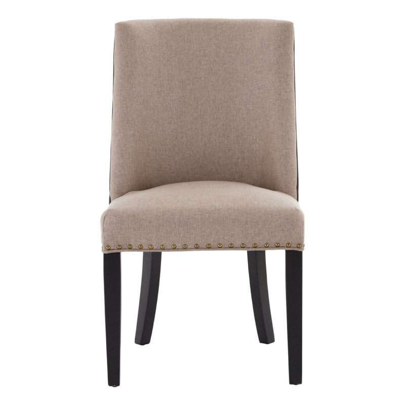 Rodeo Dining Chair Beige Fabric Brown Faux Leather 5