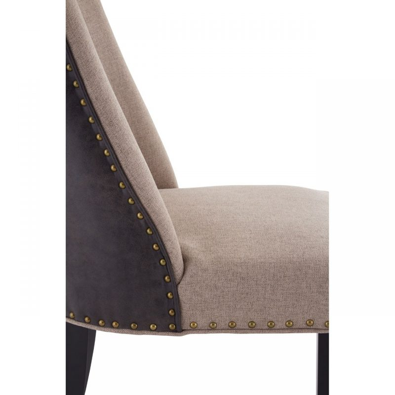 Rodeo Dining Chair Beige Fabric Brown Faux Leather 1