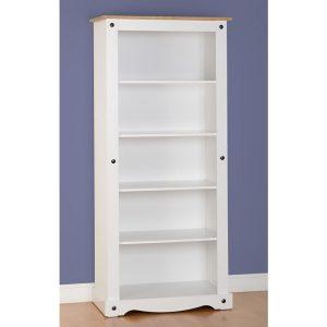 corona white tall bookcase