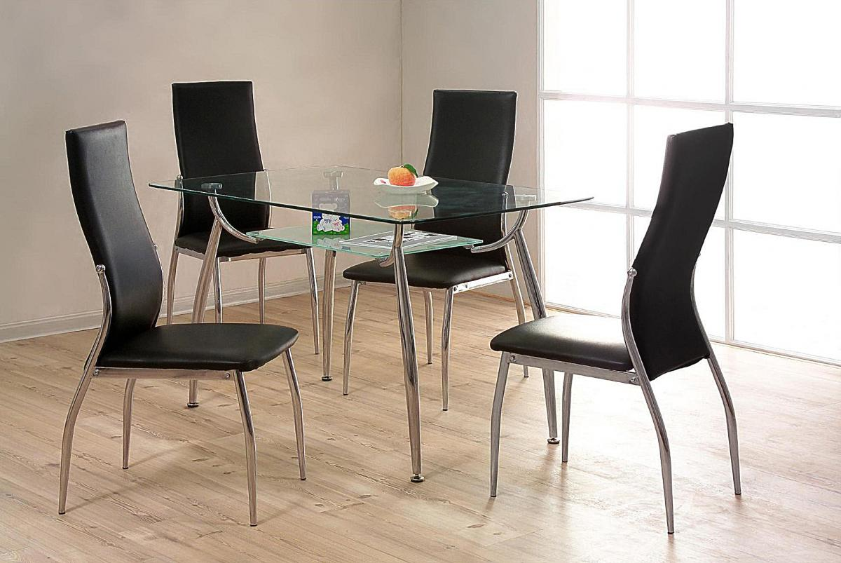 Lazio Dining Set & 4 Leather Chairs