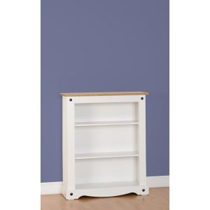 corona white low bookcase