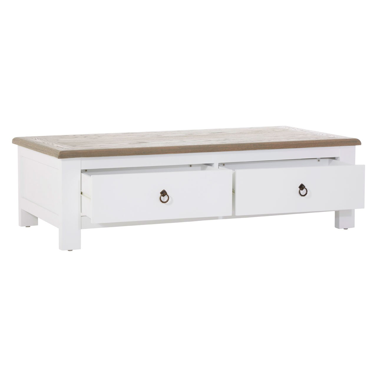 Hampstead White & Oak Large Coffee Table - 4 Drawers