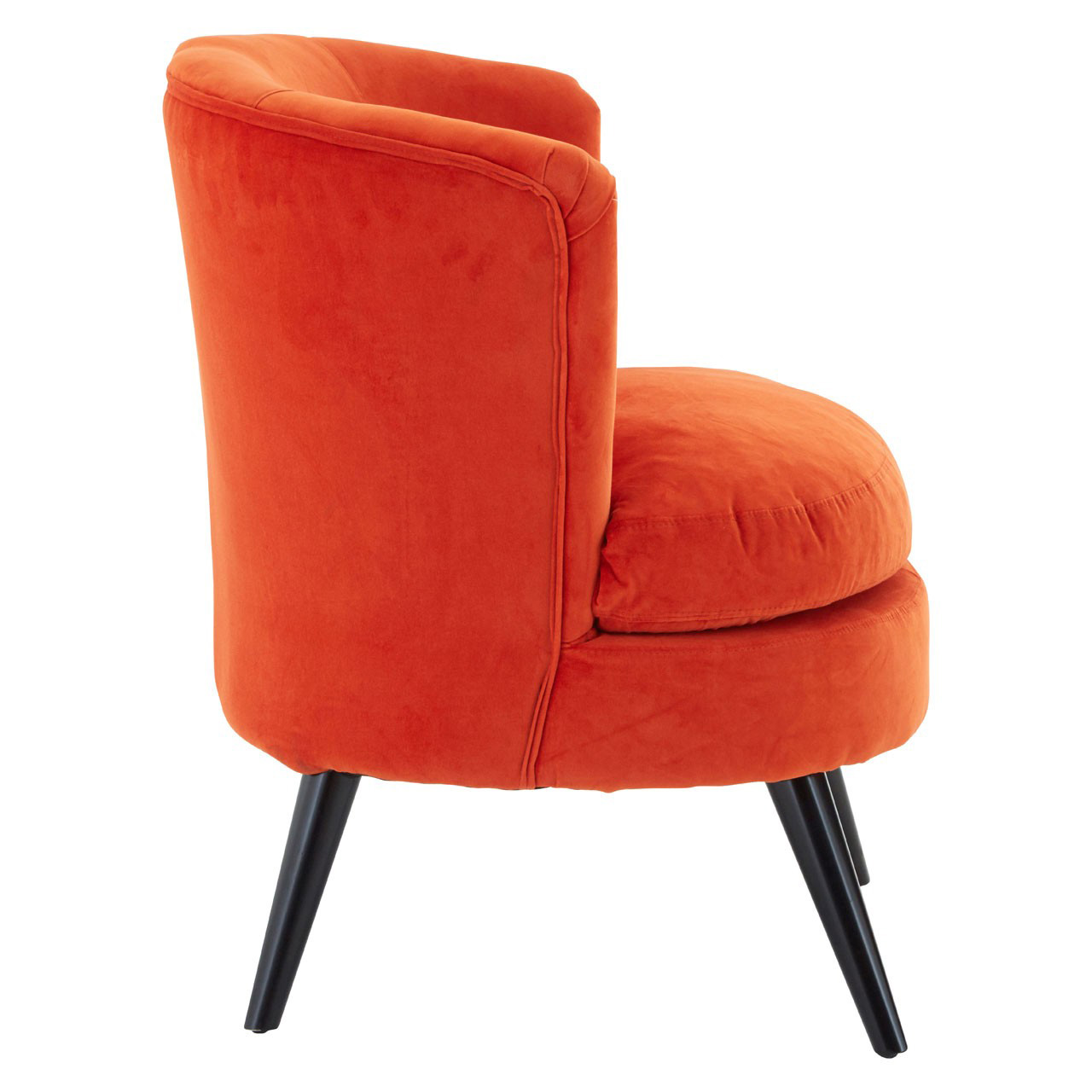 Orange Plush Velvet Round Armchair - Dark Wooden Legs | FADS