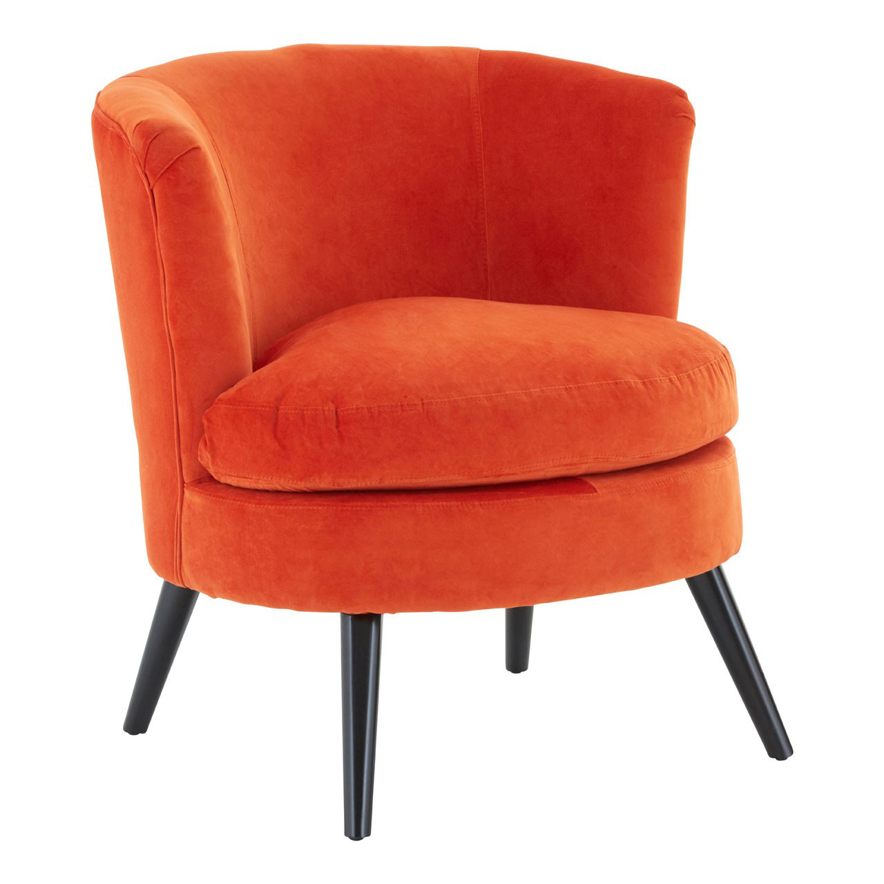 Orange Plush Velvet Round Armchair