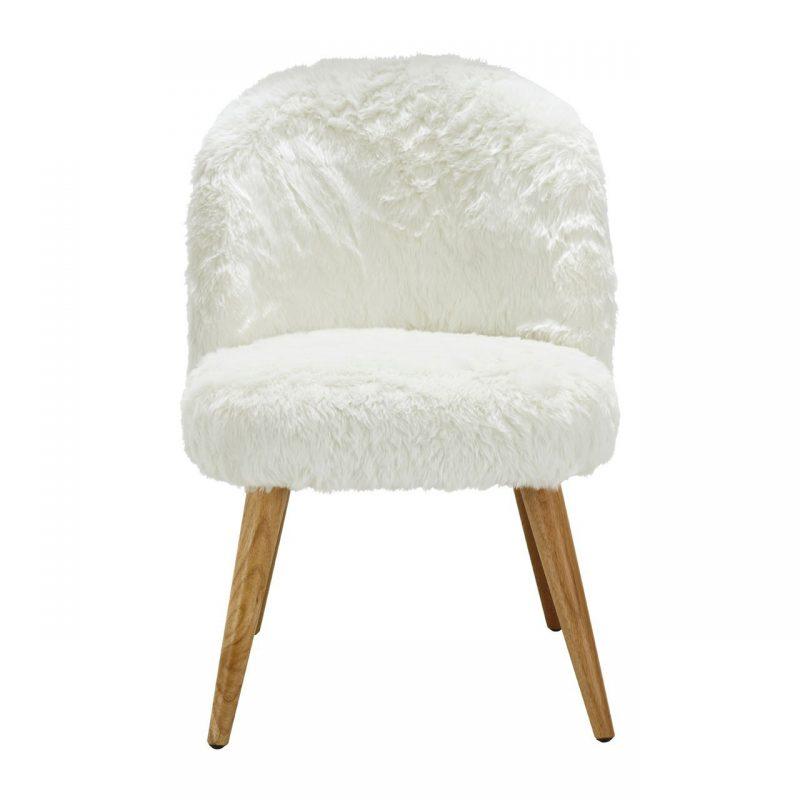 Cabaret Soft Faux Fur Chair White