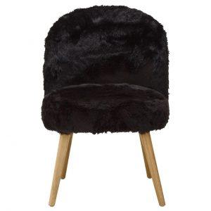 Cabaret Soft Faux Fur Chair Black