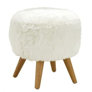 cabaret Soft Faux Fur Stool White