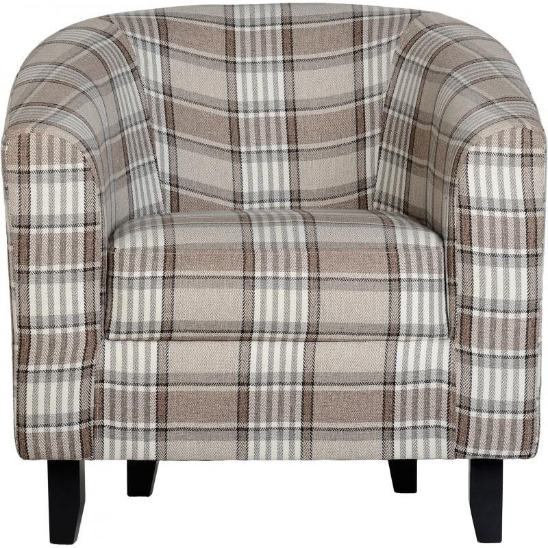 Hammond Fabric Tub Chair Grey Brown Front