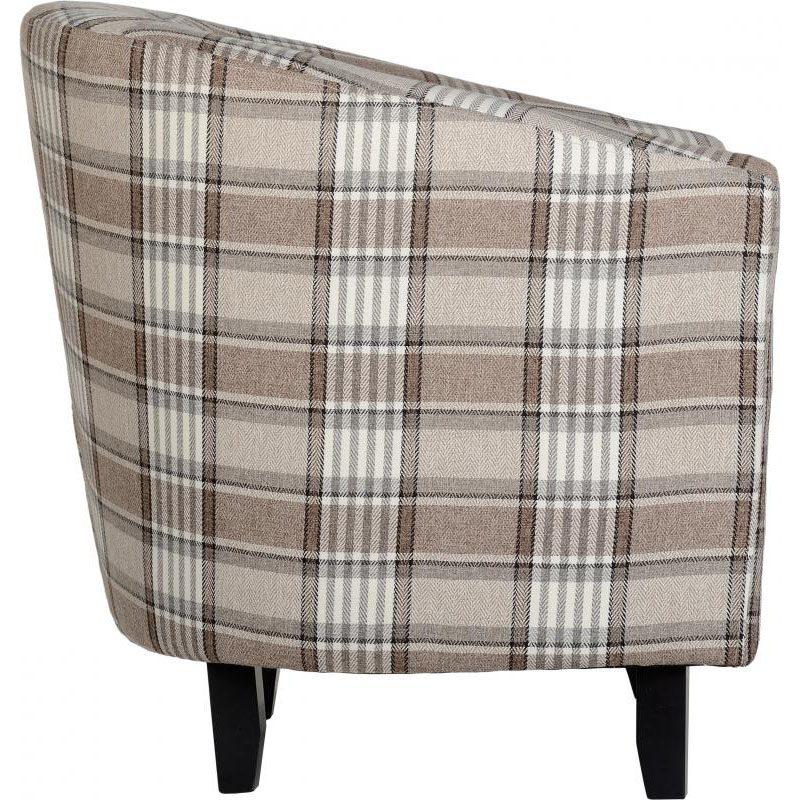 Hammond Fabric Tub Chair Grey Brown Side