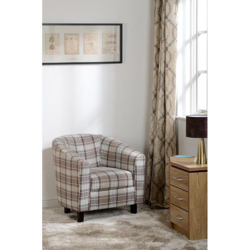 Hammond Fabric Tub Chair Grey Brown Lifestyle