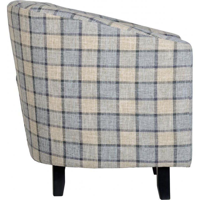 Hammond Fabric Tub Chair Grey Check Side