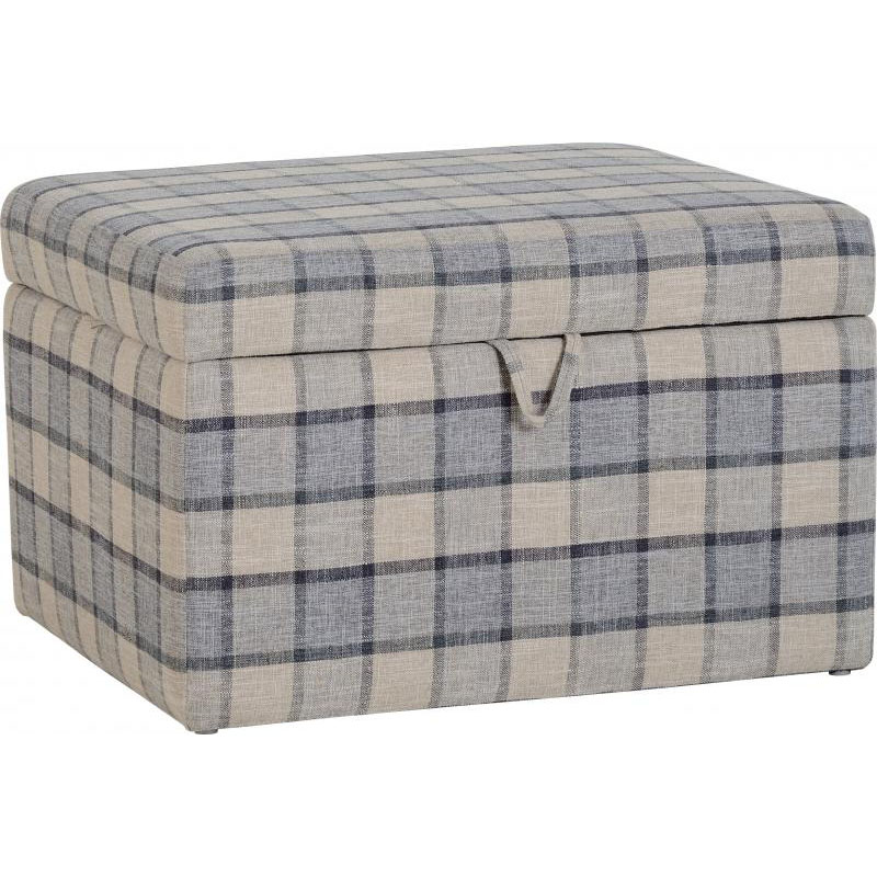 Hammond Fabric Storage Stool Grey Check