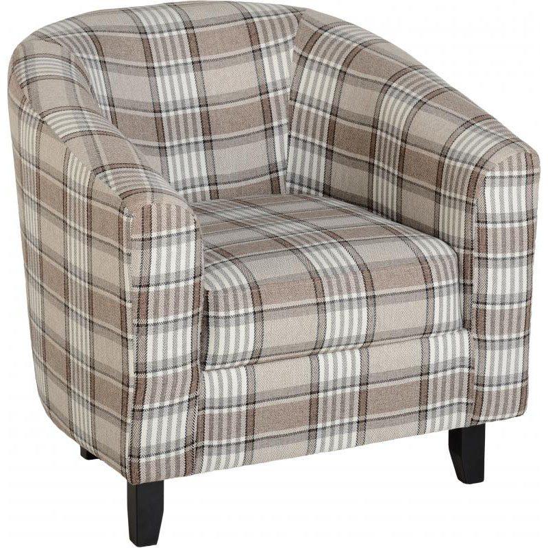 Hammond Fabric Tub Chair Grey/Brown Fabric