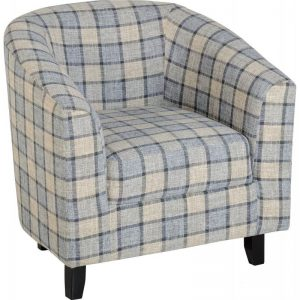 Hammond Fabric Tub Chair Grey Check Fabric