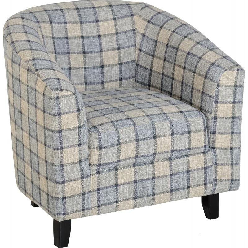 Hammond Fabric Tub Chair Grey Check Fabric