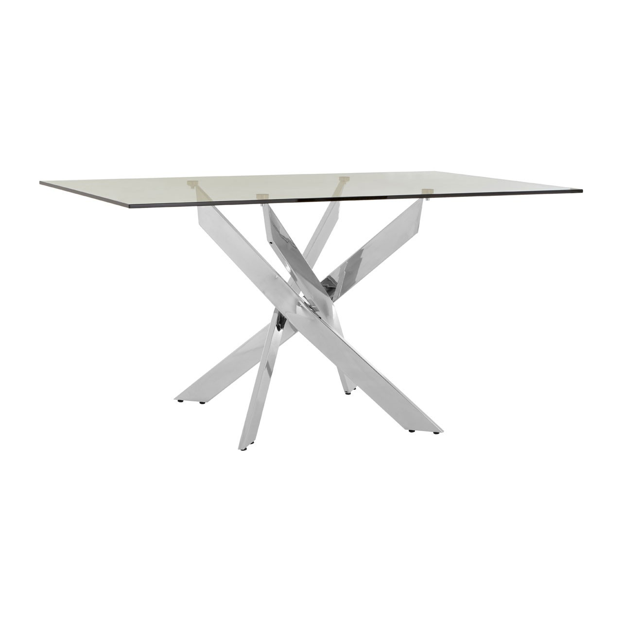 Allure Clear Glass Chrome Dining Table