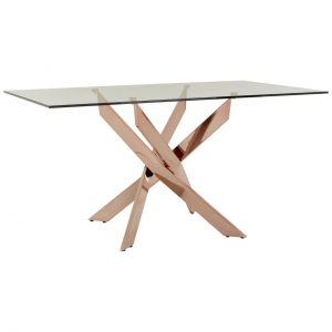 Glass Rose Gold Dining Table Allure