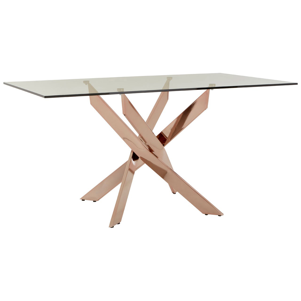 Allure Clear Glass Rose Gold Dining Table Fads
