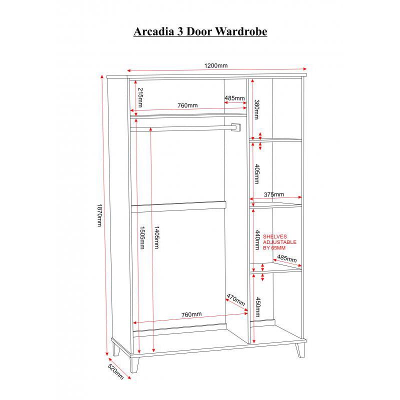 Arcadia White 3 Door Wardrobe Bedroom Furniture Fads