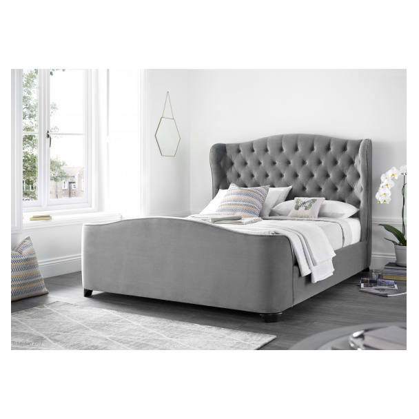 Kaydian Duchess Grey Velvet Bed Frame | Bedroom Furniture | FADS