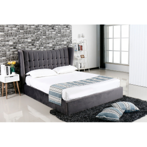 Emperor Grey Suede Bed