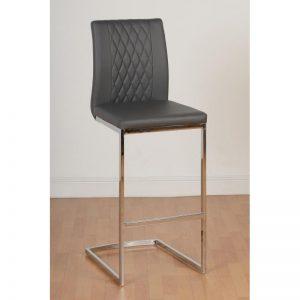 Sienna Grey Leather Faux Bar Chair