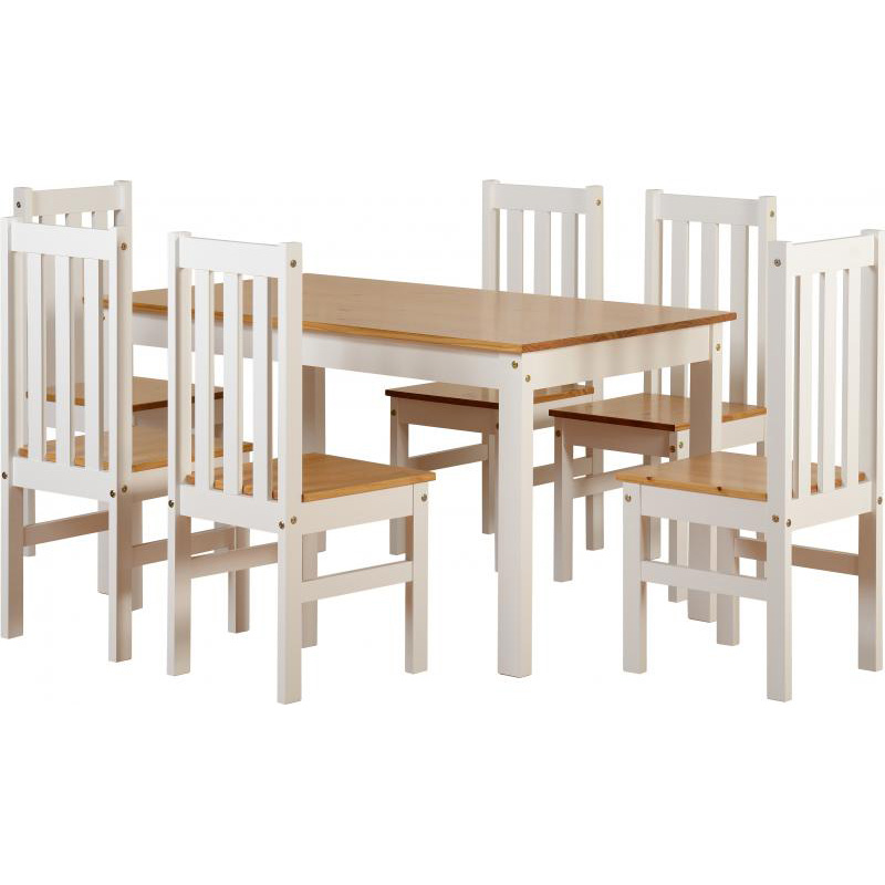 Ludlow White and Oak Large Dining Set (Dining Set Size: Table & 6 Chairs)