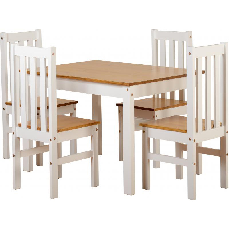 Ludlow White and Oak Large Dining Set (Dining Set Size: Table & 4 Chairs)