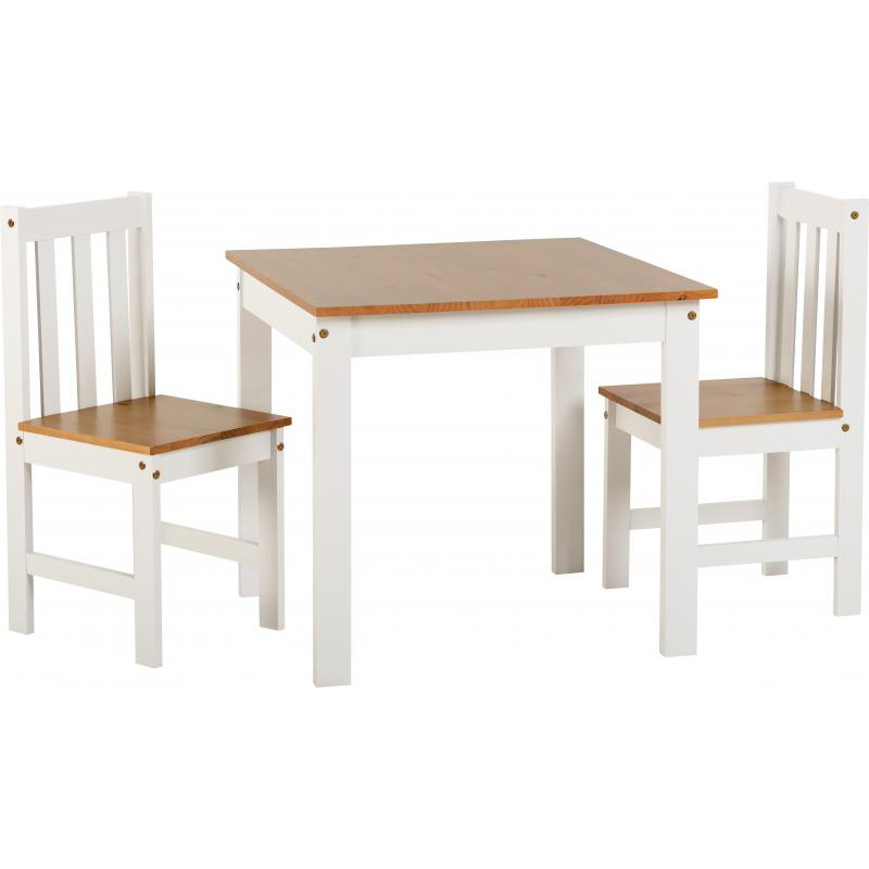 Ludlow White and Oak Large Dining Set (Dining Set Size: Table & 2 Chairs)