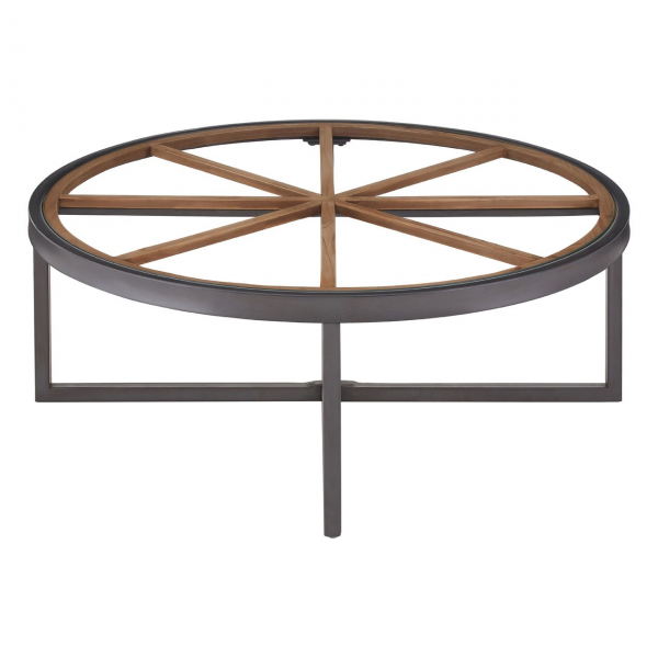 Trinity Wooden Glass Round Coffee Table