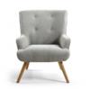 Mateo Silver Grey Fabric Armchair