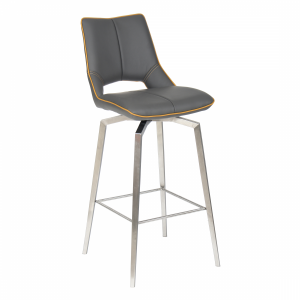 Velda Graphite Grey Leather Swivel Bar Chair
