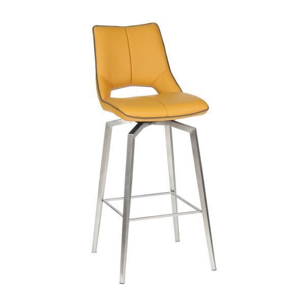 Medallion Yellow Leather Swivel Bar Chair