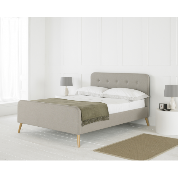 Renee Contemporary Oatmeal Fabric Bed
