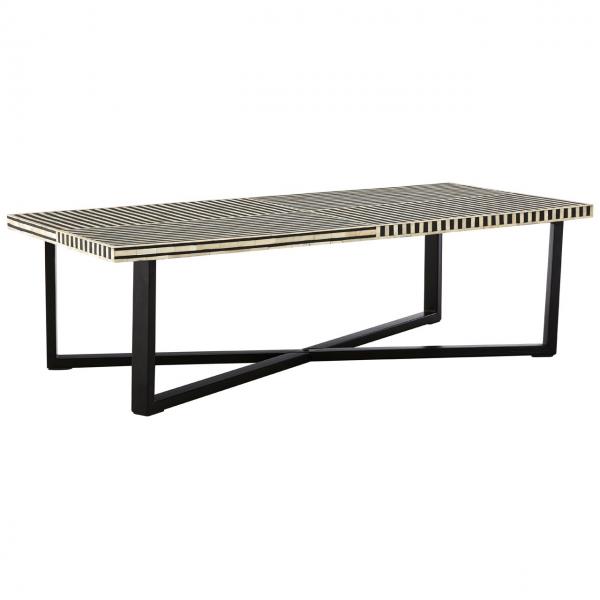 boho black stripe coffee table