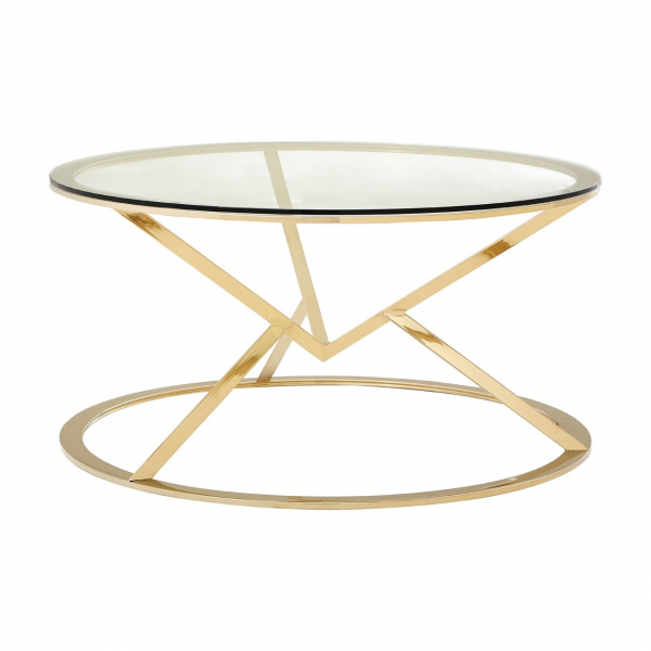 Margot Champagne Gold Round Coffee Table