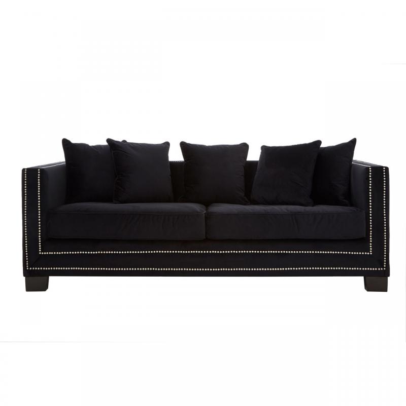Sofia Black Velvet 3 Seater Sofa