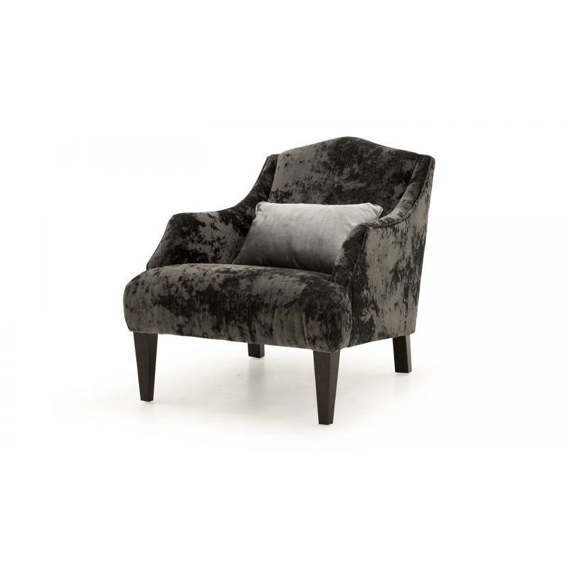 Belvedere Dark Grey Crushed Velvet Armchair