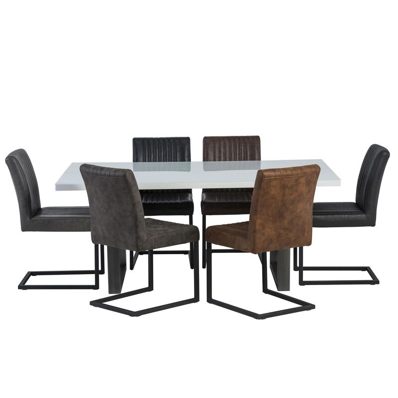 Rialto White Gloss 6 Seater Dining Set (Table Colour: Grey, Chair Colour: Grey Fabric)