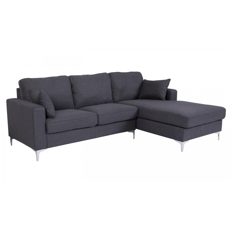Tora Charcoal Corner Sofa (Sofa Options: Right Hand Facing)