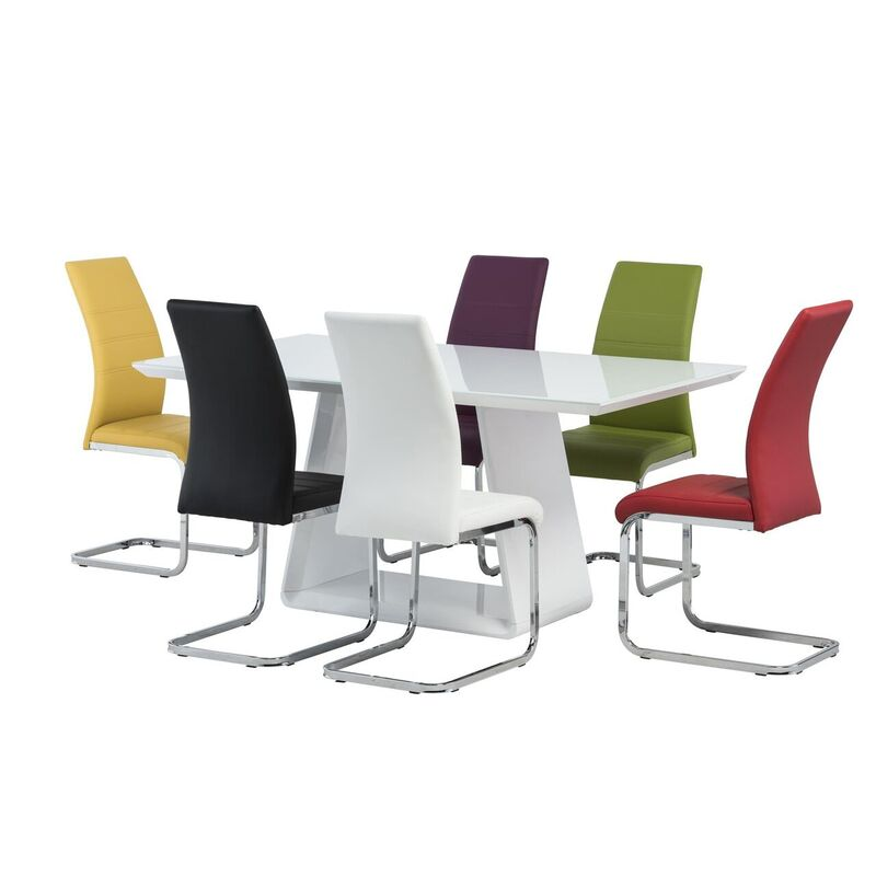 Lucca White Gloss Dining Table Set With 6 Multi Coloured Chairs