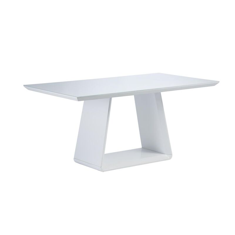 Lucca Gloss 6 Seater Dining Table (Table Colour: White)