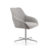 Wolf Detailed Light Grey Fabric Dining Chair  1