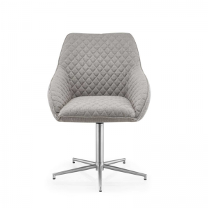 Wolf Detailed Light Grey Fabric Dining Chair