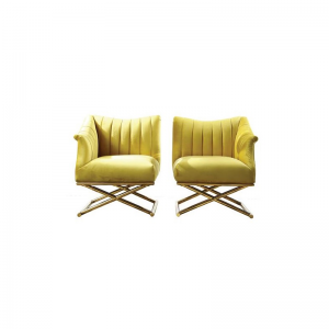 Aubyn Leg Cross Yellow Fabric Chair