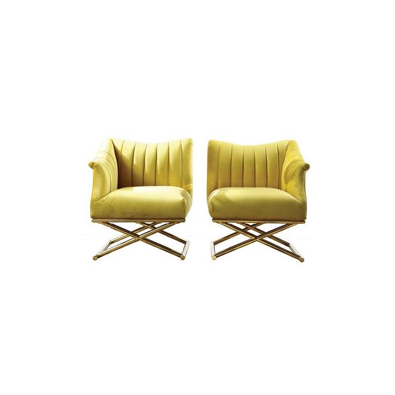 Aubyn Leg Cross Yellow Fabric Chair